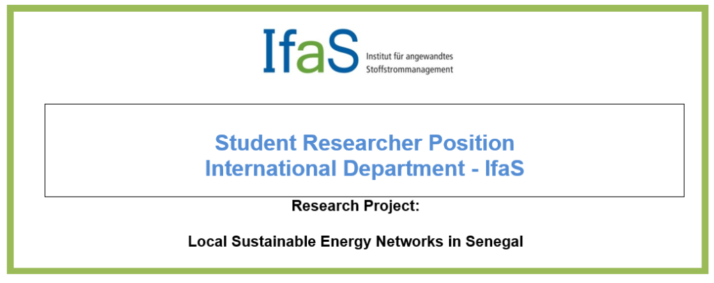 Student Researcher Position: International Department - IfaS