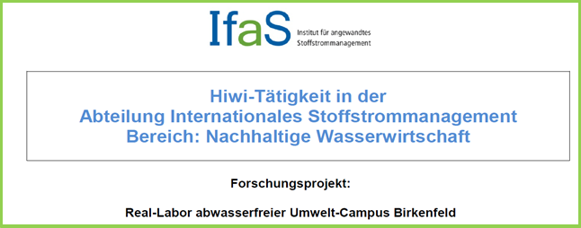"Stellenangebot als Hiwi in der Abteilung ""Internationales Stoffstrommanagement"""