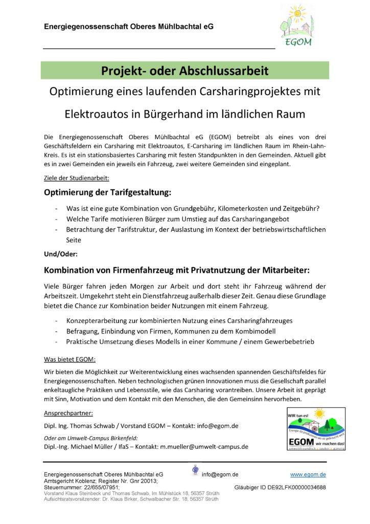 Ausschreibung einer Projekt- und Abschlussarbeit der Energiegenossenschaft Oberes Mühlbachtal eG