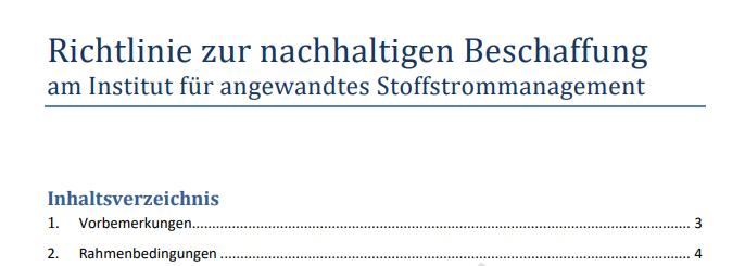 """Richtlinie zur """"Grünen Beschaffung"""" am IfaS"""