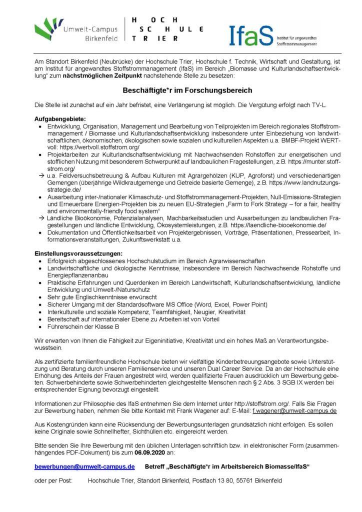 Stellenangebot als Beschäftigte*r in der Biomasseabteilung des IfaS