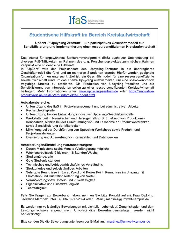 Stellenangebot: Studentische Hilfskraft im Bereich Kreislaufwirtschaft