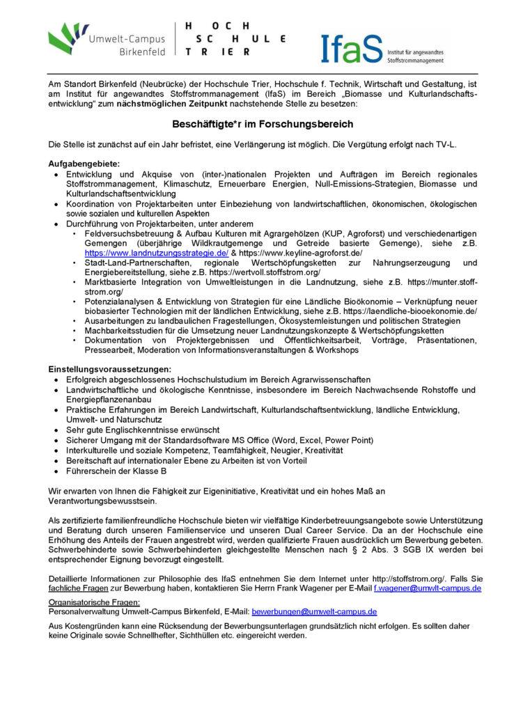 """Stellenausschreibung: Beschäftigte*r im Forschungsbereich """"Biomasse und Kulturlandschaftsentwicklung"""